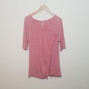 LANE BRYANT 14/16 Pink Gray Striped Blouse